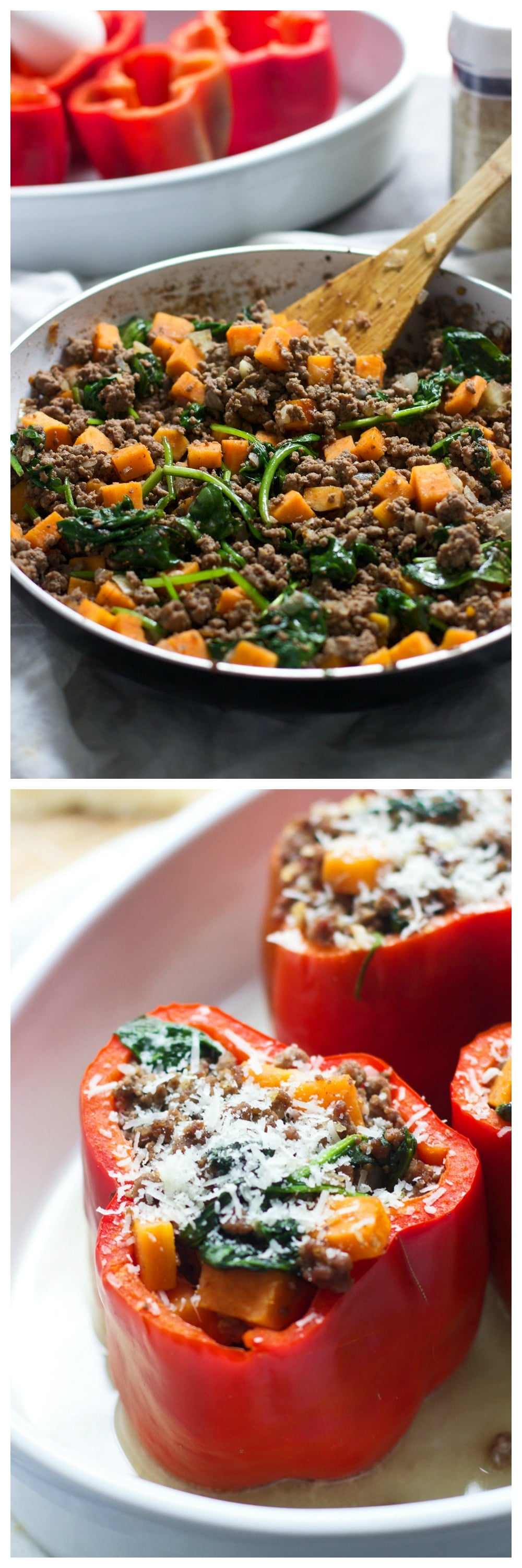 Beef, Sweet Potato and Spinach Stuffed Peppers