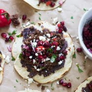 Beef Tostadas with Pomegranate Salsa and Queso Fresco