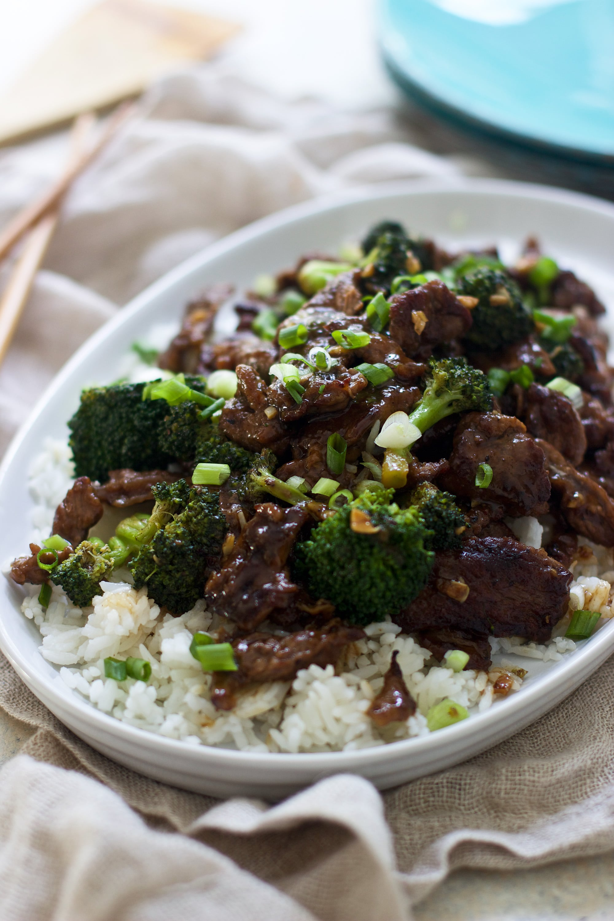 Easy Beef with Broccoli - Comes together in under 30 minutes, is lightened-up and SO much better than takeout!