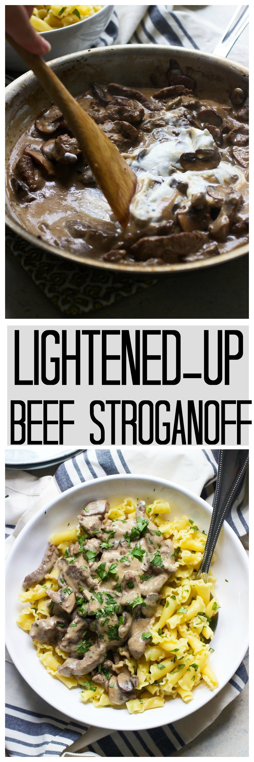 Lightened-Up Beef Stroganoff - Comes together in under 30 minutes and is every bit as delicious as the original!