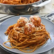 Lighter Spaghetti and Chicken Meatballs