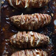Four Ingredient Brie and Brown Sugar Hasselback Sweet Potatoes