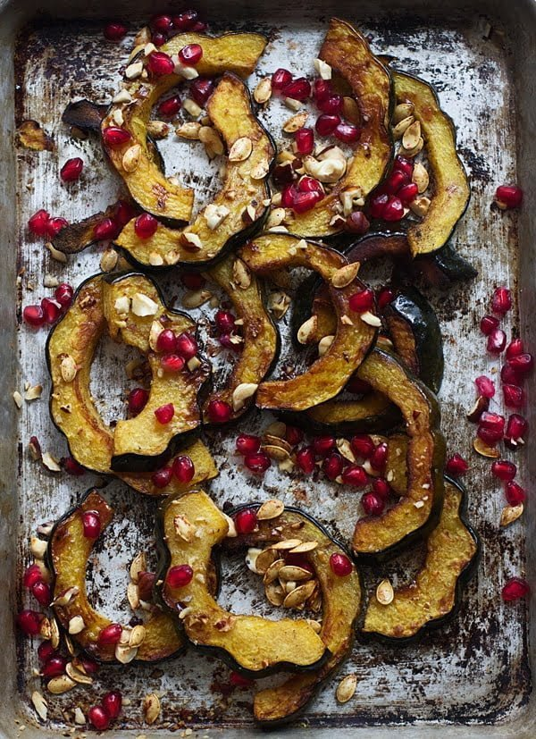 Brown Butter Roasted Acorn Squash with Toasted Hazelnuts, Pomegranates and Squash Seeds 6