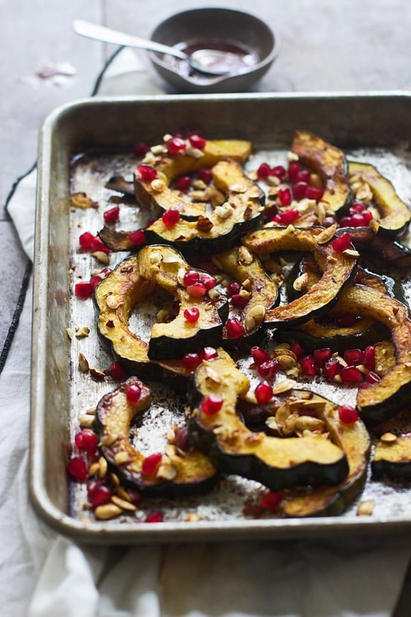 Brown Butter Roasted Acorn Squash with Toasted Hazelnuts, Pomegranates and Squash Seeds 7