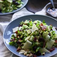 Brussels Sprout, Candied Bacon and Cherry Salad with Brown Butter Vinaigrette