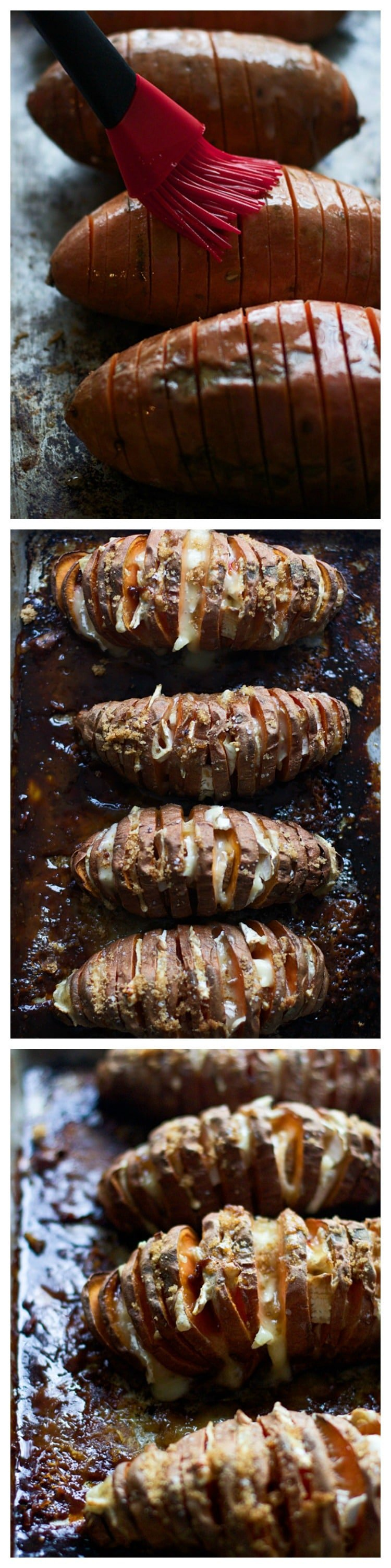 Five Ingredient Brie and Brown Sugar Hasselback Sweet Potatoes - SO much easier than sweet potato casserole and just as delicious!