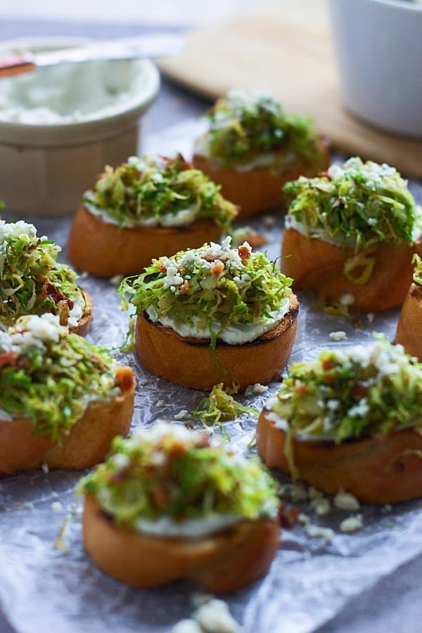 Five Ingredient Brussels Sprout and Bacon Crostini with Whipped Blue Cheese copy