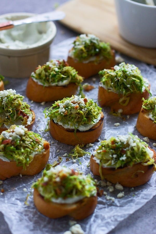 Five Ingredient Brussels Sprout and Bacon Crostini with Whipped Blue Cheese