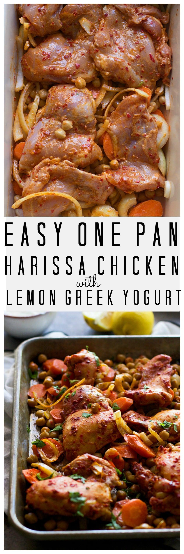 One Pan Harissa Marinated Chicken with Lemon Greek Yogurt ...