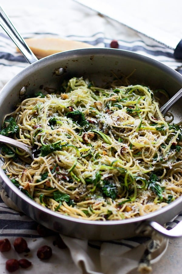 Whole-Wheat and Zucchini Spaghetti with Brown Butter, Hazelnuts and Kale 5