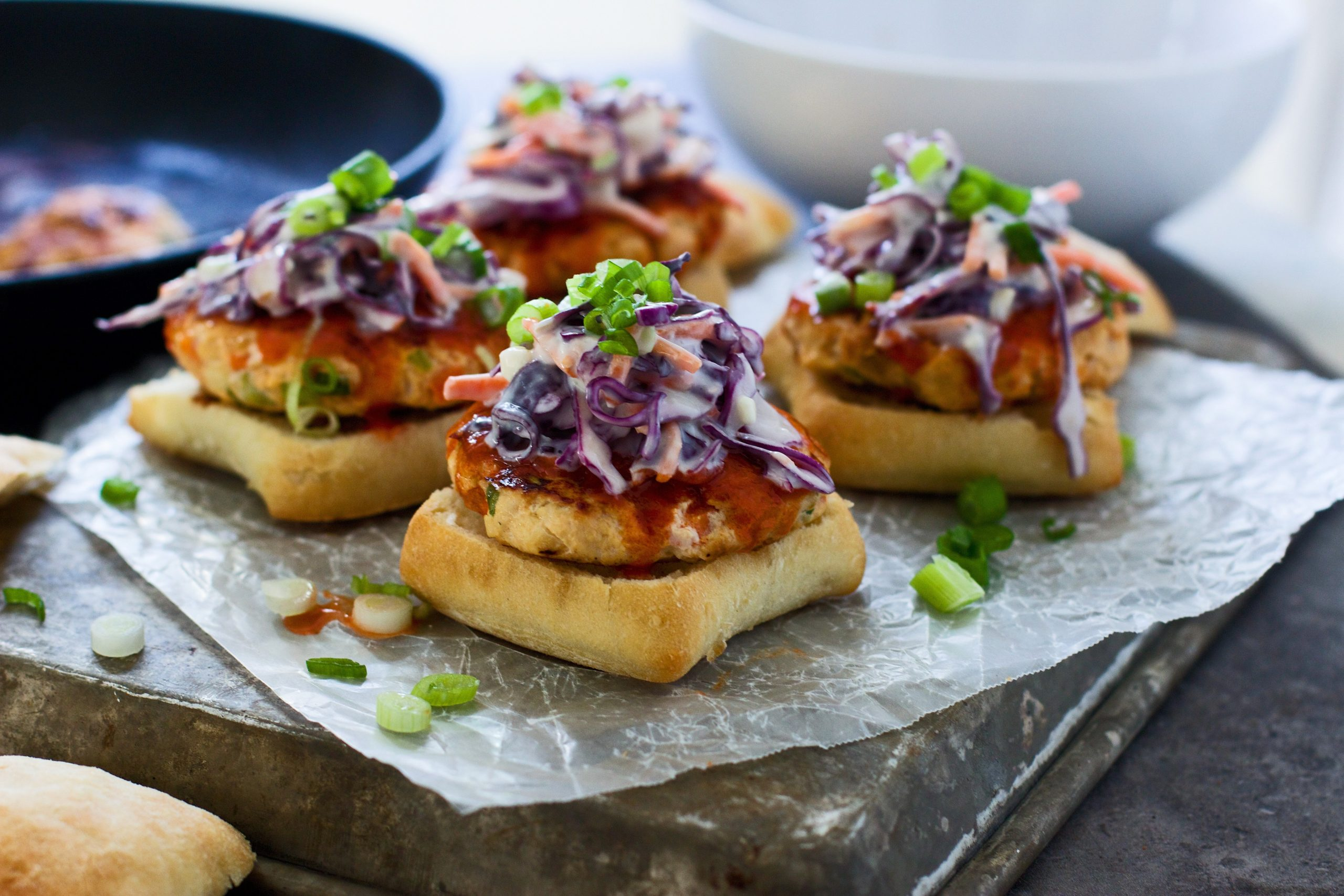 Buffalo Turkey Sliders with Blue Cheese Slaw 6