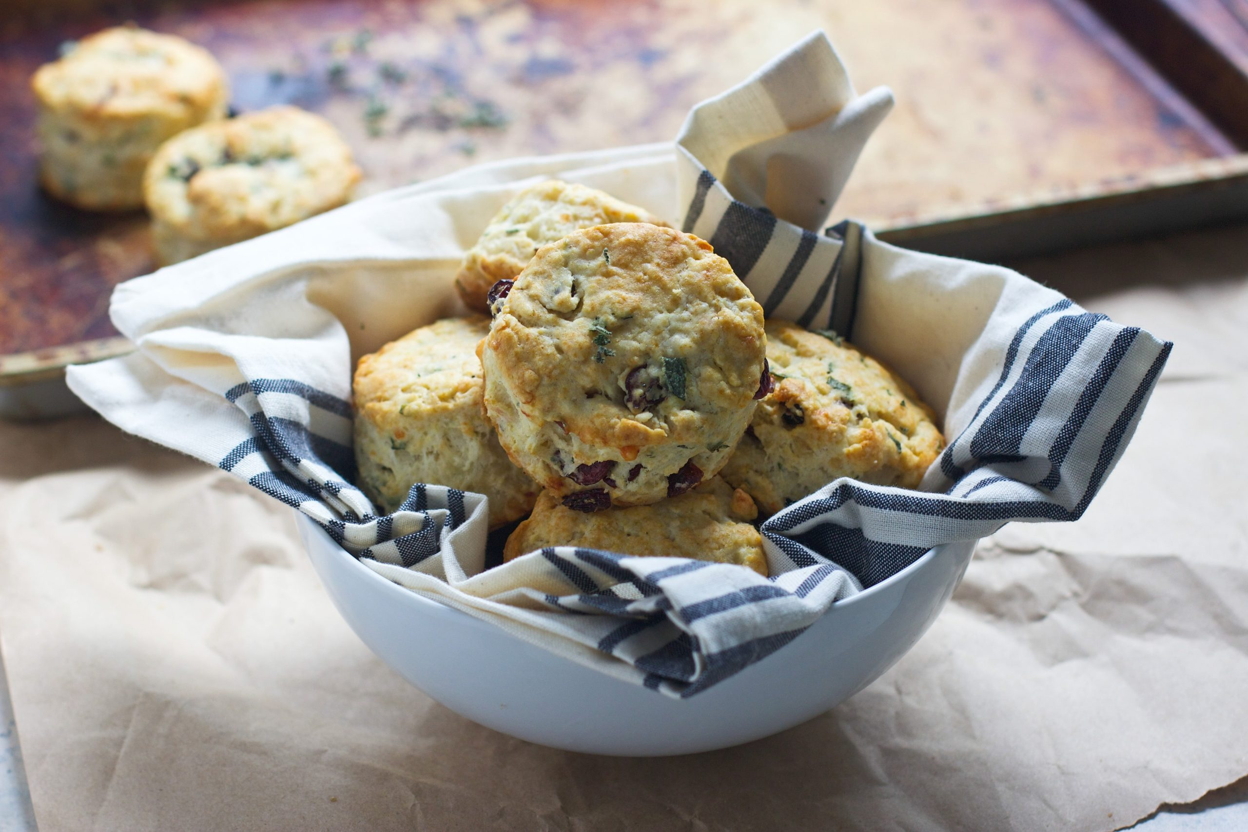 Super Easy Gruyere, Cranberrya and Sage Buttermilk Biscuits - The perfect alternative to rolls on your holiday table!
