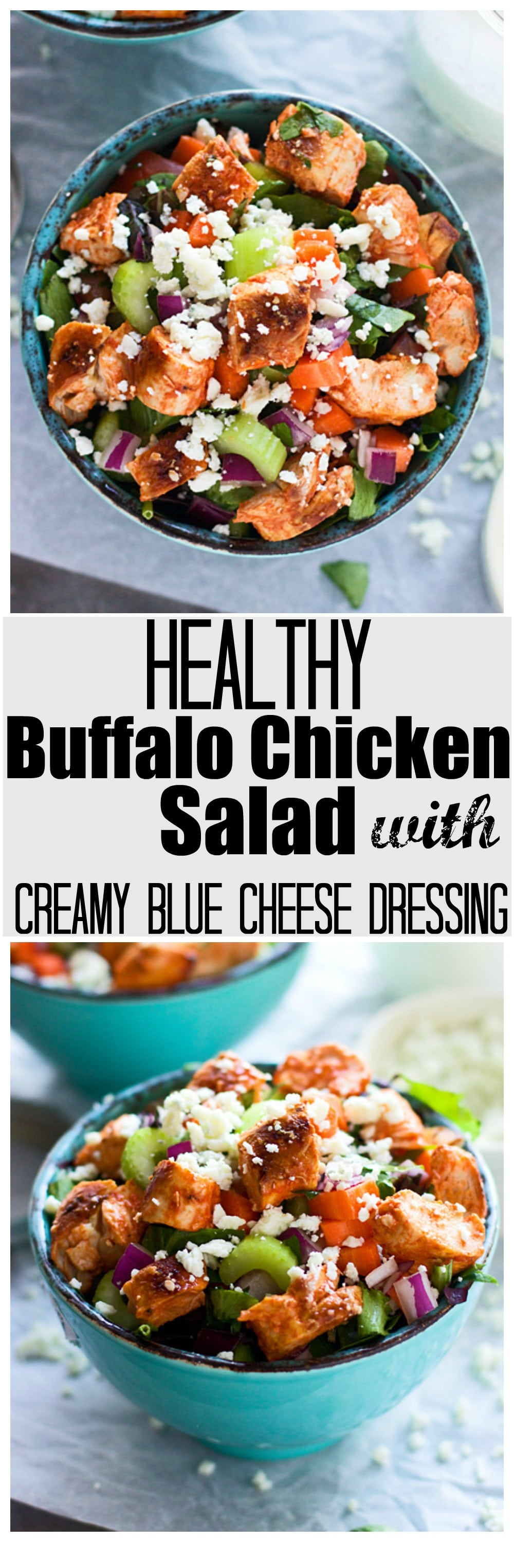 Healthy Chopped Buffalo Chicken Salsad with Creamy Blue Cheese Dressing