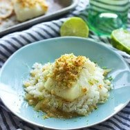 Macadamia Nut Crusted Chilean Sea Bass with Vanilla Lime Butter Sauce