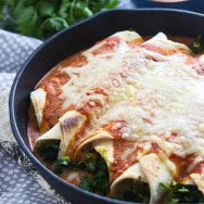Kale and Brussels Sprout Enchiladas with (Homemade) Goat Cheese Enchilada Sauce