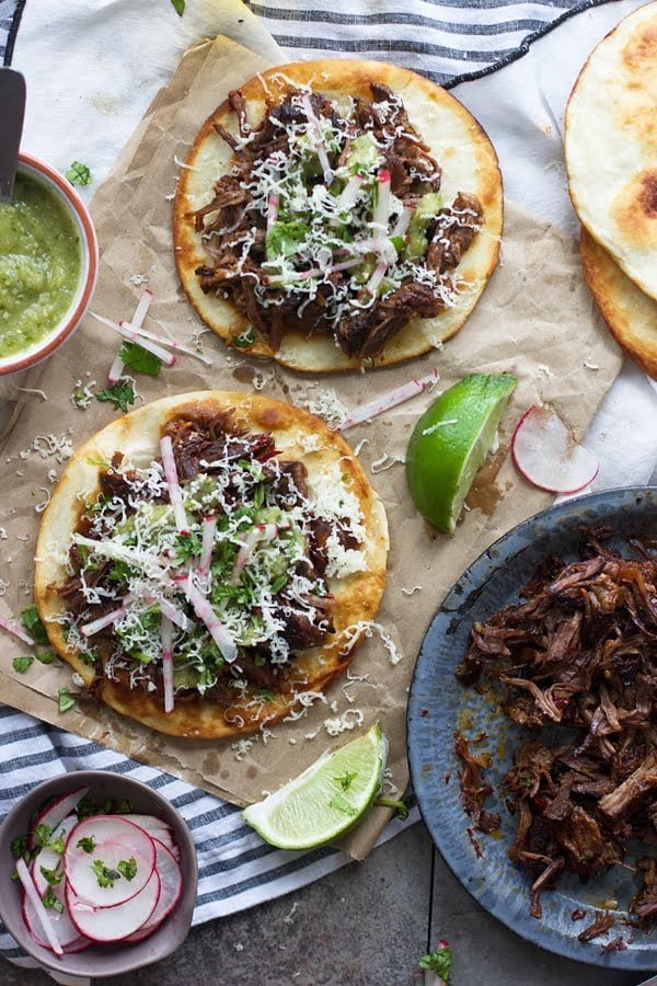 Puffy Tostadas with Chile and Beer Braised Short Ribs and Tomatillo Salsa