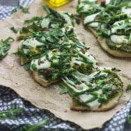 Pistachio and Arugula Pesto Flatbread Pizzas