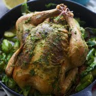 Roasted Chicken with Pistachio and Arugula Pesto