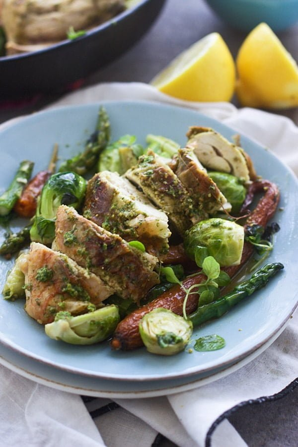 Roast Chicken with Pistachio and Arugula Pesto