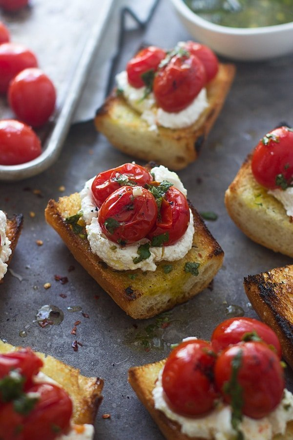 Grilled Baguette with Homemade Ricotto, Burst Cherry Tomatoes, and Chimichurri 4