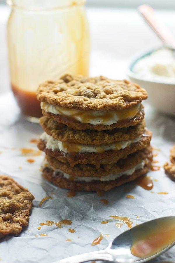 Homemade Salted Caramel Oatmeal Cream Pies