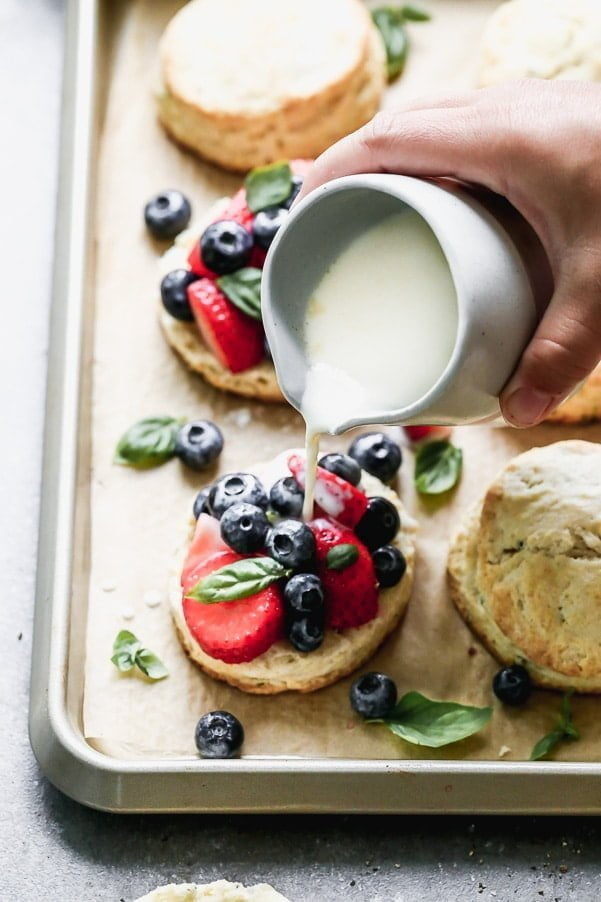 Lemon Mixed Berry Shortcakes with Warm Sweet Cream