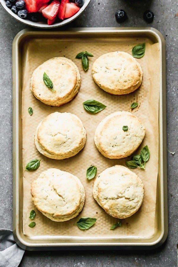 Lemon infused shortcakes with basil
