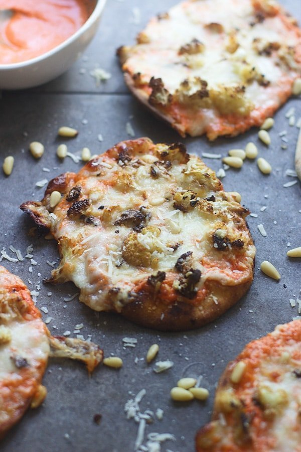 Roasted Red Pepper and Cauliflower Pizzas 2
