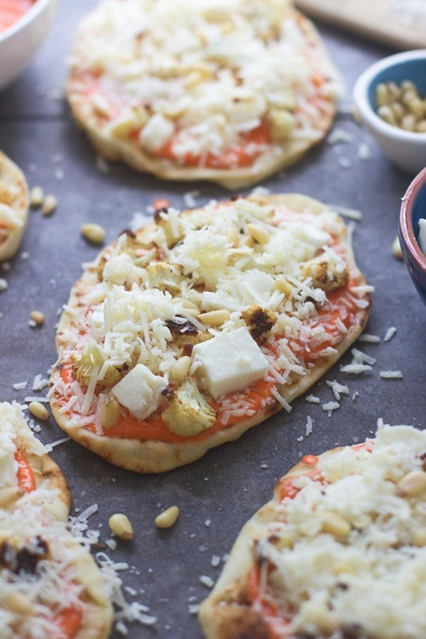 Roasted Red Pepper and Cauliflower Pizzas - Cooking for Keeps