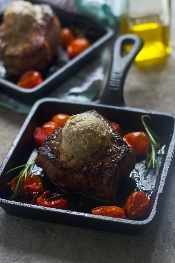 Seared Filets with Blue Cheese Brown Butter and Roasted Tomatoes