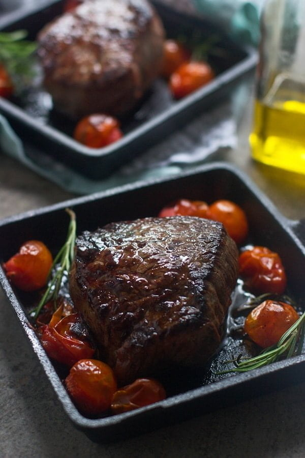 Seared Filets with Blue Cheese Brown Butter and Roasted Tomatoes 2