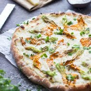 Zucchini Flower Pizza with Brown Butter Ricotta