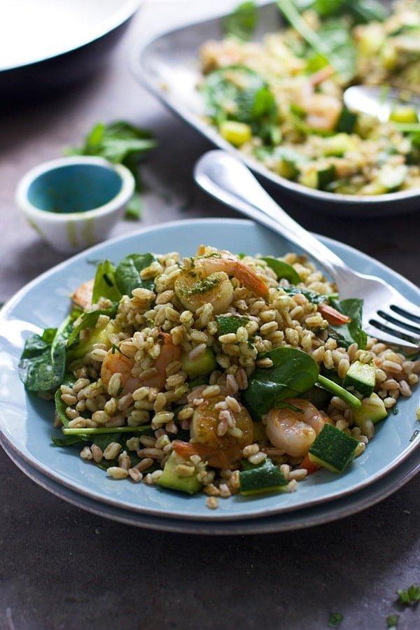 Green Goddess Shrimp and Farro Bowls