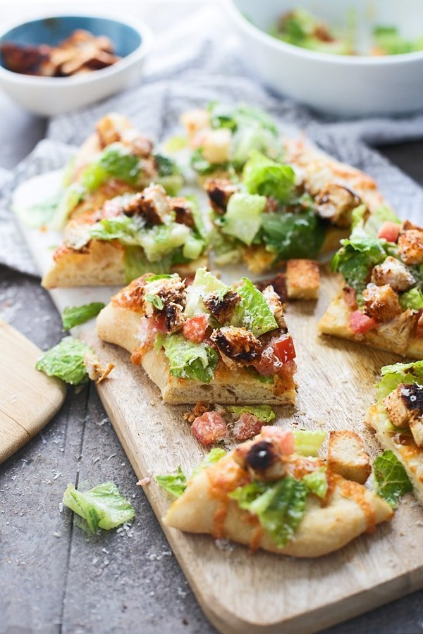 Blackened Chicken Caesar Salad Pizzas