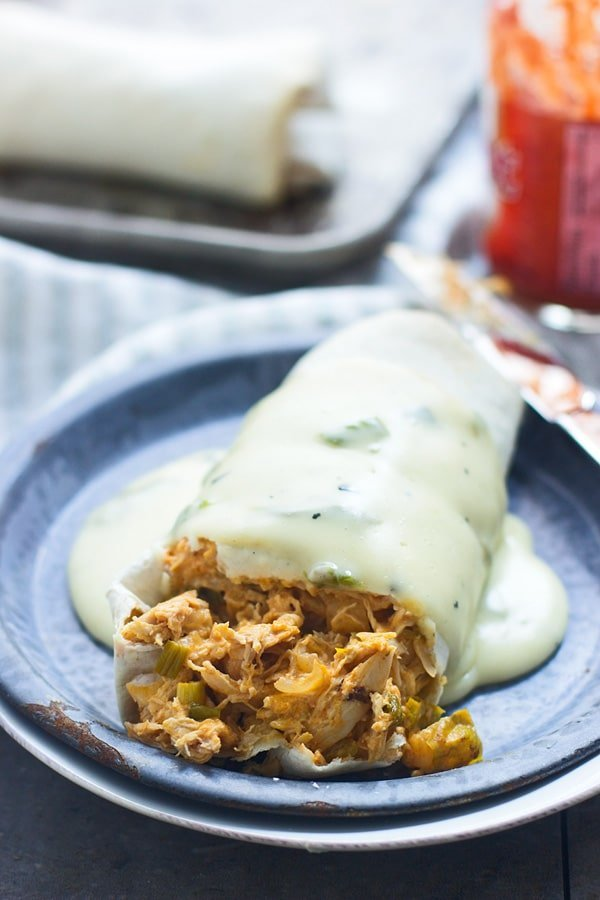 Easy Buffalo Chicken Burritos with Hatch Pepper Queso