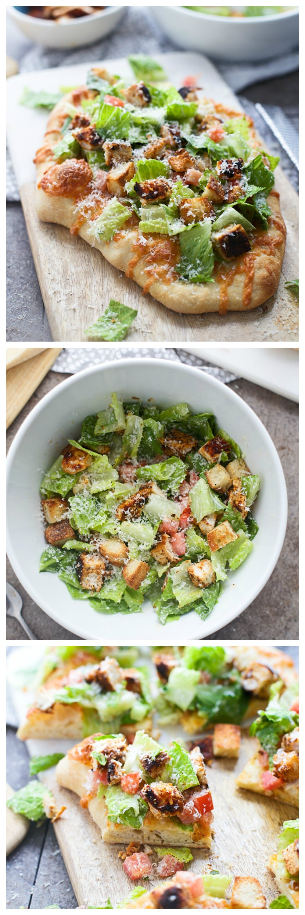 Blackened Chicken Caesar Salad Pizzas