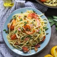 Shrimp Saltimbocca Linguini