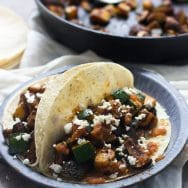 Zucchini and Mushroom Tacos with Hatch Pepper Salsa