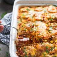Chicken Enchilada Baked Ravioli