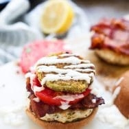 Chimichurri Burgers with Fried Green Tomatoes and Bacon