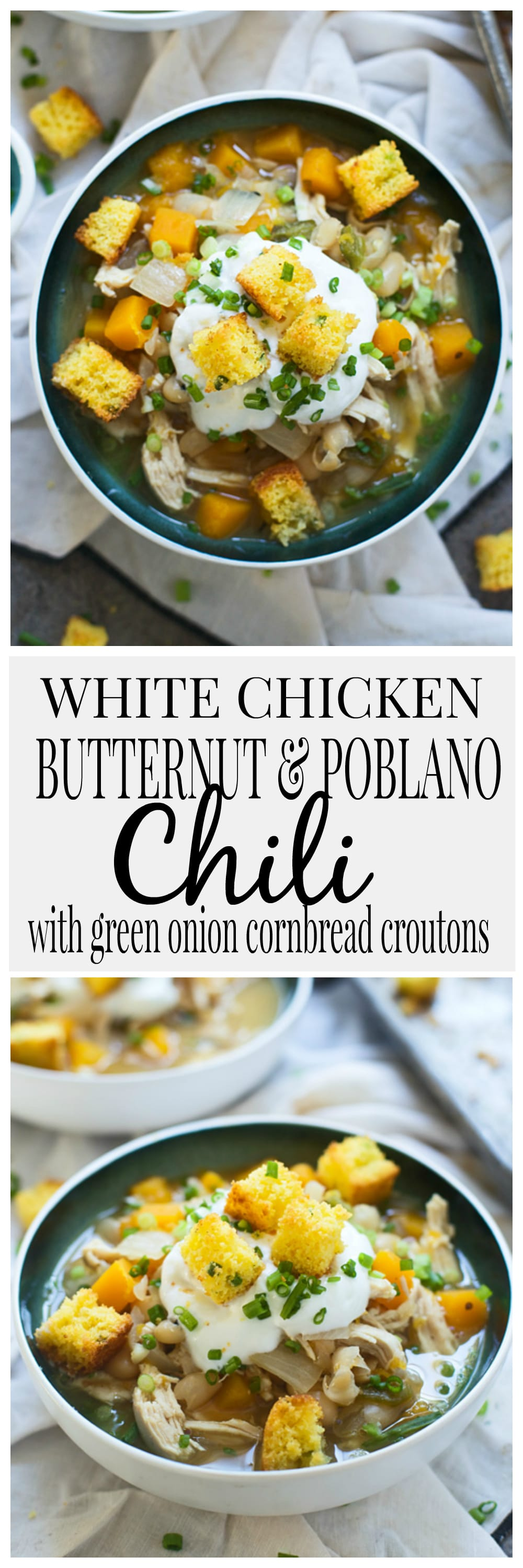 White Chicken Butternut and Poblano Chili with Cornbread Croutons
