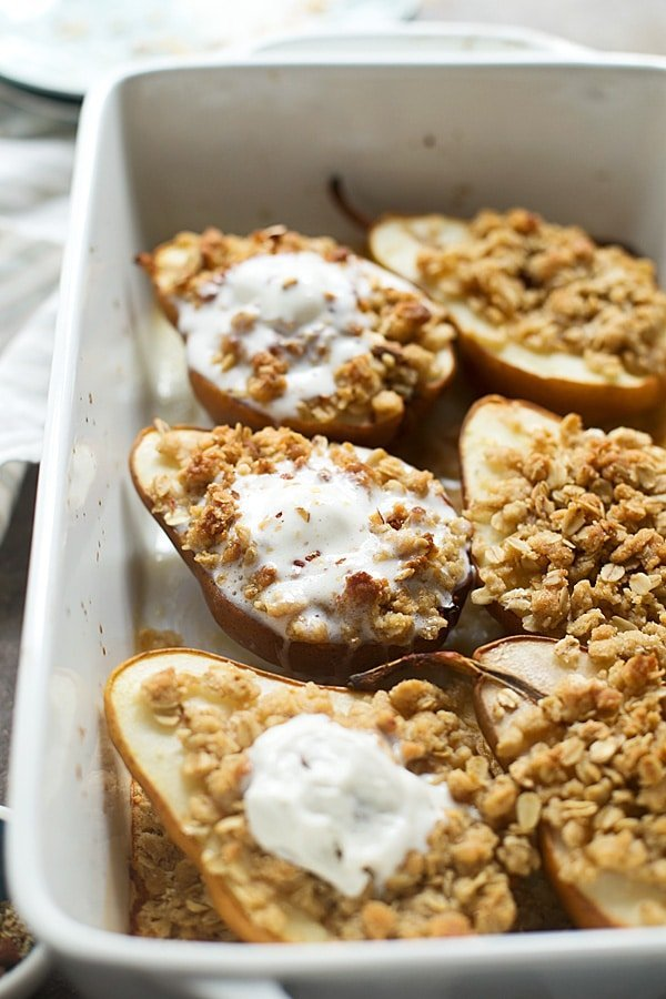 Baked Champagne Pears with Oat Almond Crumble