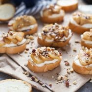 Pear Crostini with Homemade Whipped Ricotta and Brown Butter Honey
