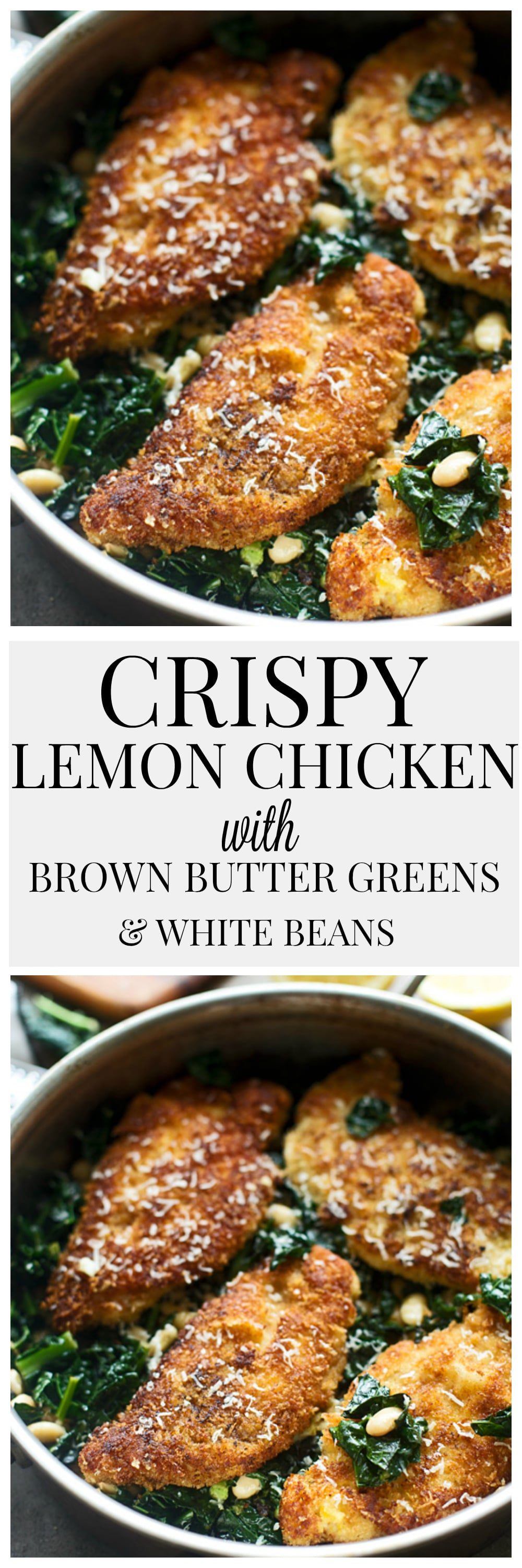 Crispy Lemon Chicken with Brown Butter Greens and White Beans ...