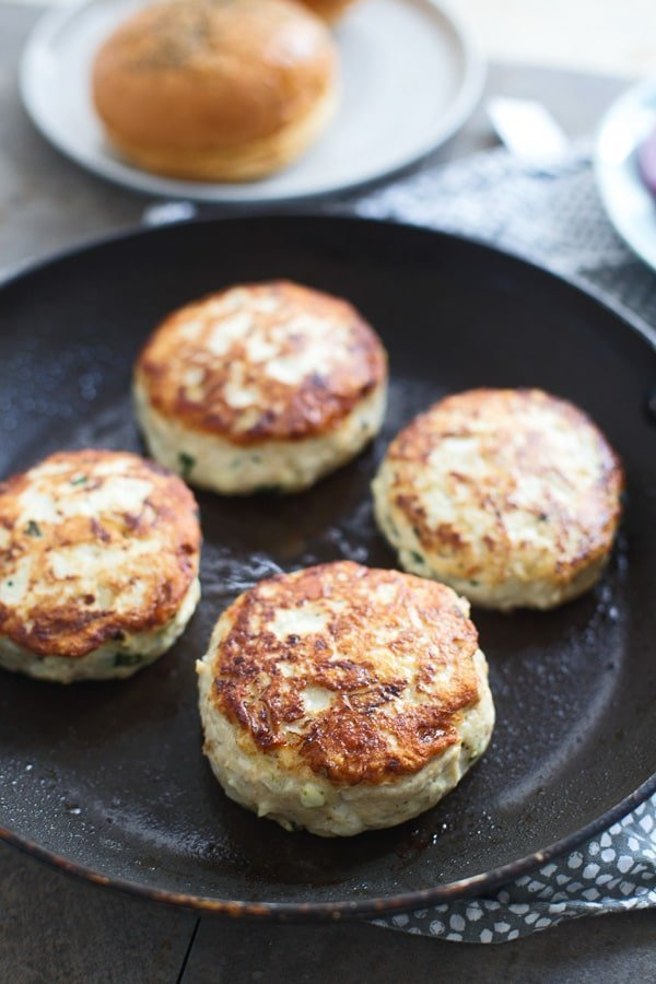 Spanakopita Stuffed Chicken Burgers with Tzatziki