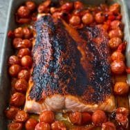 Tomato Butter Roasted Salmon with Cherry Tomatoes and Peppadews