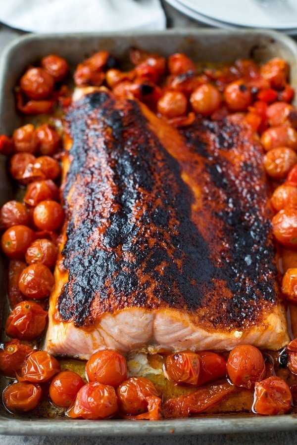Broiled salmon with roasted cherry tomatoes