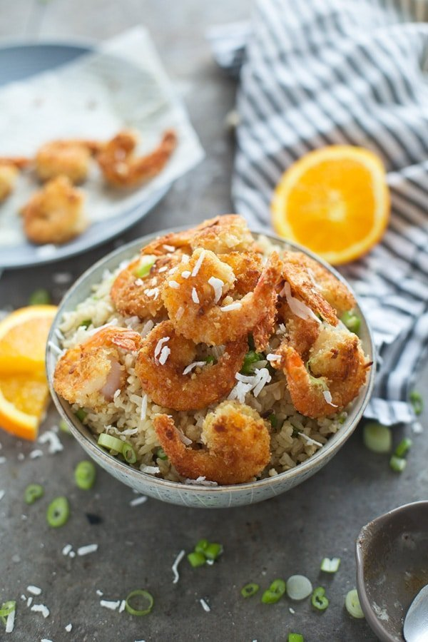 Crispy Coconut Ginger Shrimp with Coconut Rice and Orange Butter Sauce