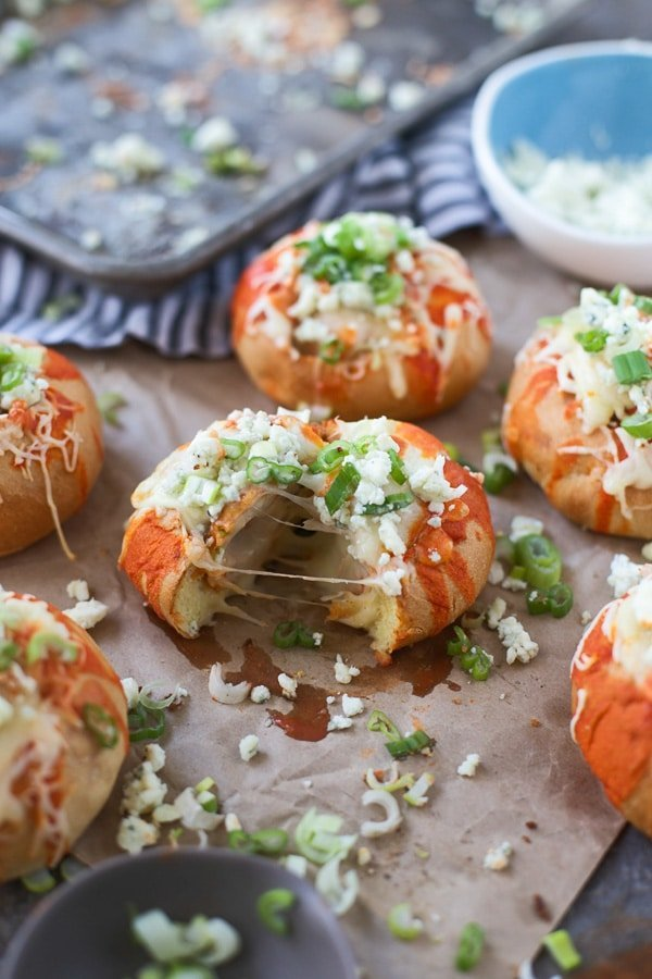 Mozzarella-Stuffed Buffalo Chicken Sliders