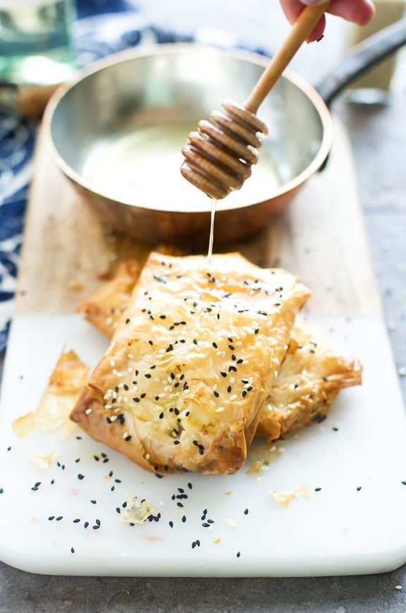 Phyllo-Wrapped Feta with Honey and Sesame Seeds